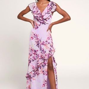 Lulu's Sami Lavender Floral Ruffled Maxi Dress